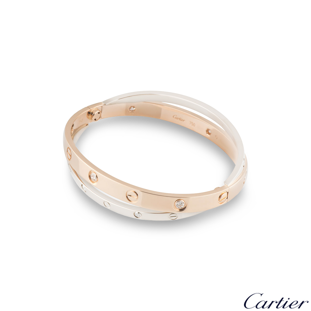 Cartier Love Rose & White Gold Diamond Bracelet Size 16 N6039116